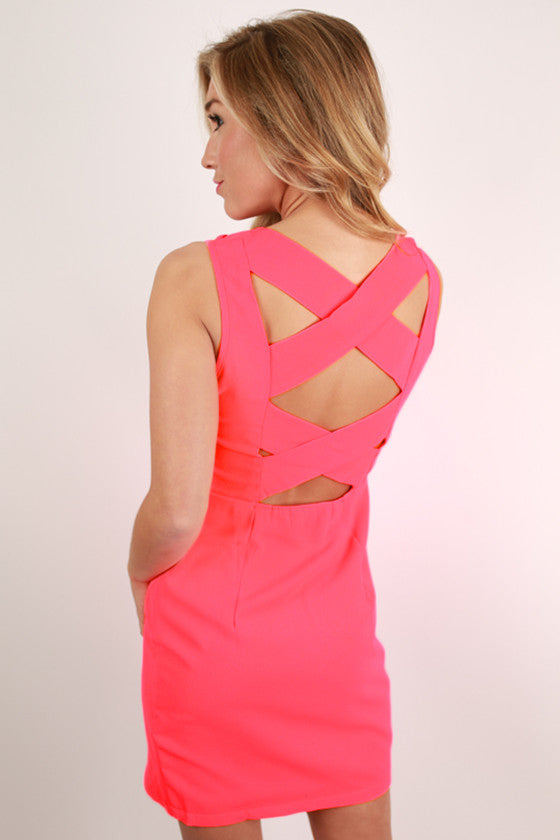 First Date Flutters Dress in Hot Pink
