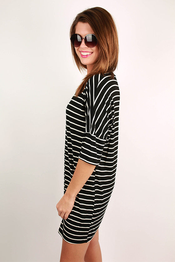 Sail Me Away Striped T-Shirt Dress in Black