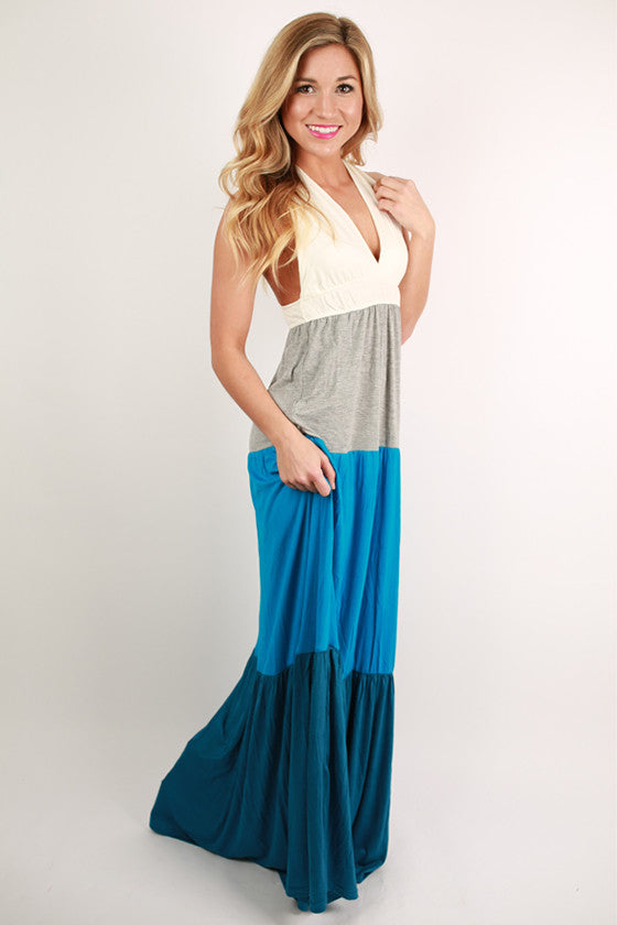 Seeing Skies of Blue Halter Maxi Dress in Blue