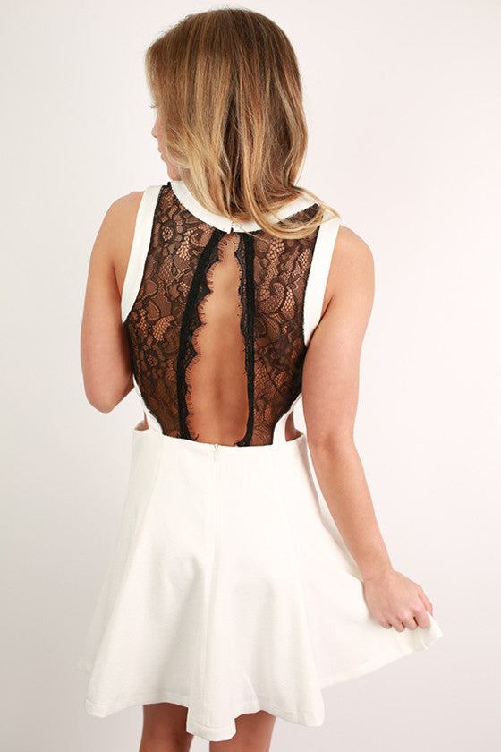 Feeling Fancy Lace Back Dress in White