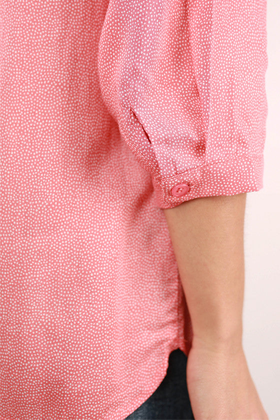 PIKO Polka Dot Henley Top in Peach