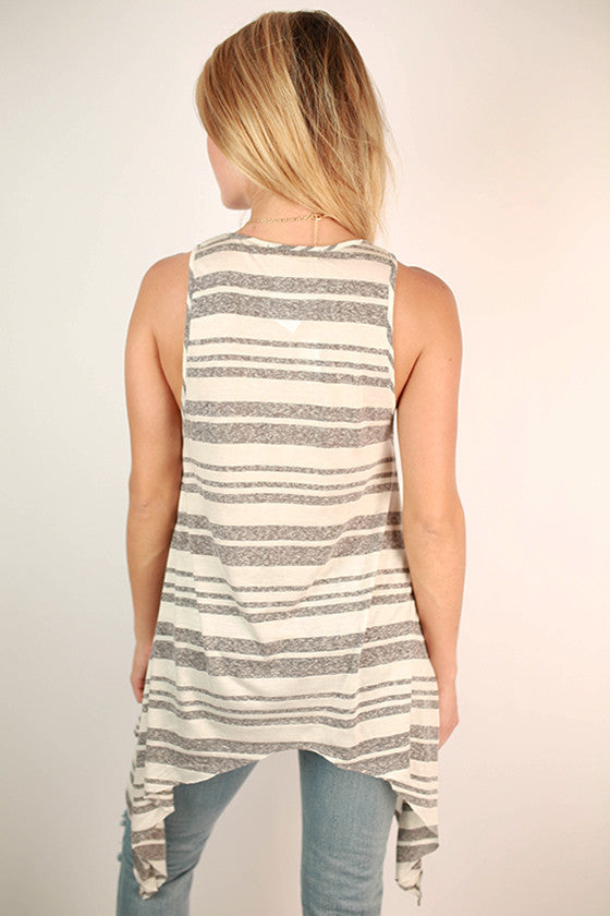 Sunkissed Shoulders Tank in Grey Stripe