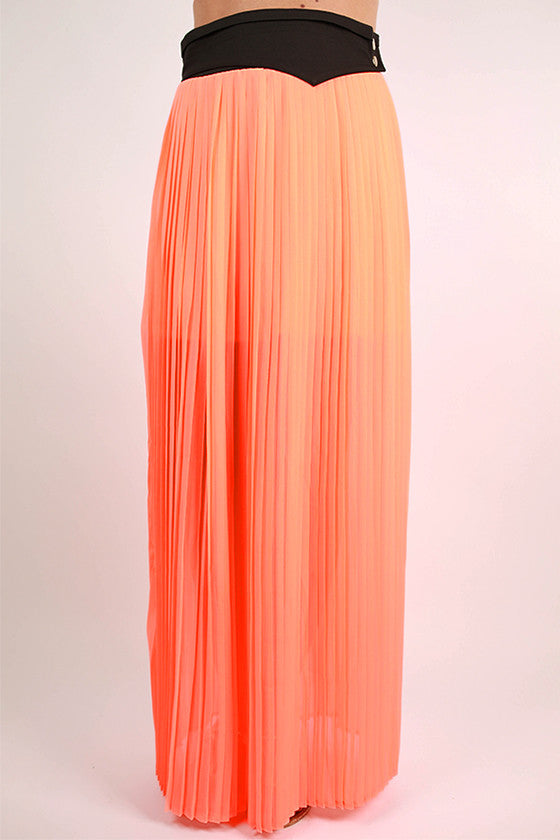 Soho Stroll Maxi Skirt in Neon Peach