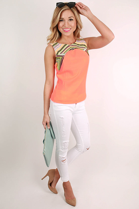 Beautiful in Cabo Embroidered Tank in Neon Peach