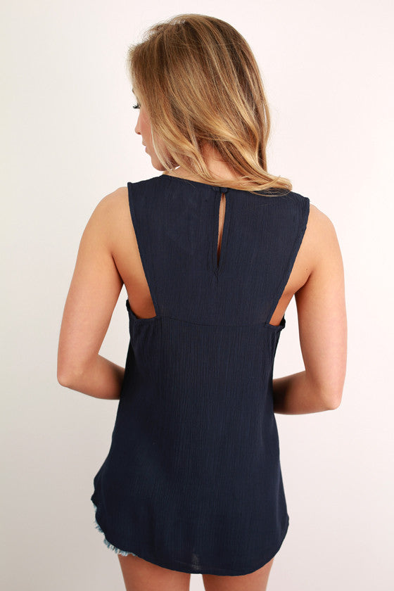 Santorini Sunsets Embroidered Tank in Navy