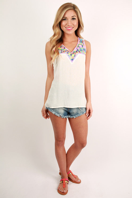 Santorini Sunsets Embroidered Tank in White