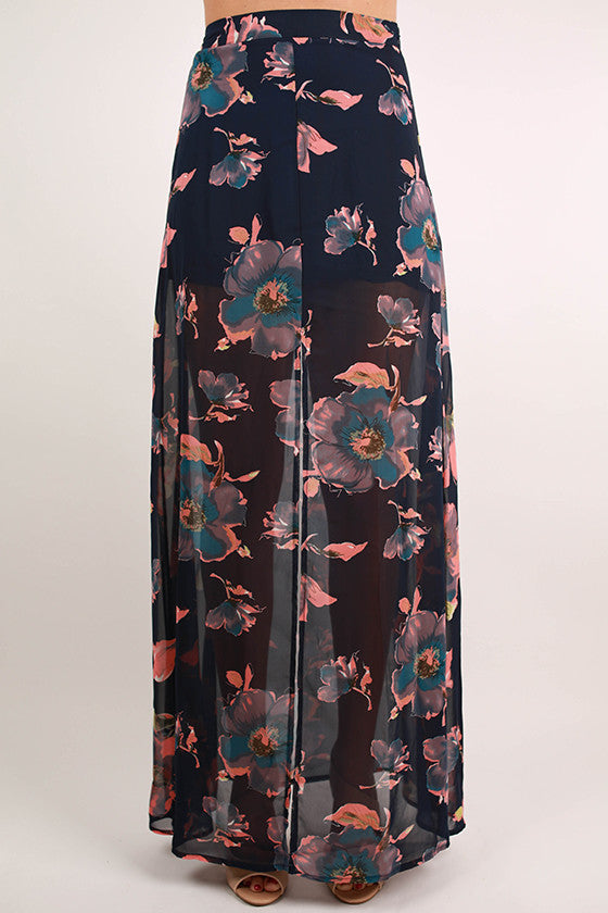 Weekend In Charleston Maxi Skirt in Navy