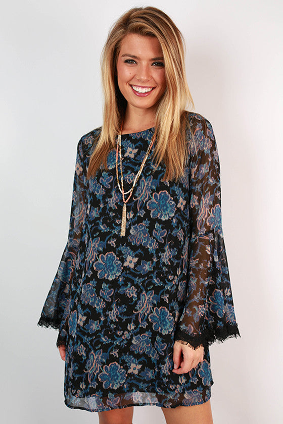 Chasing Shooting Stars Bell Sleeve Dress in Black