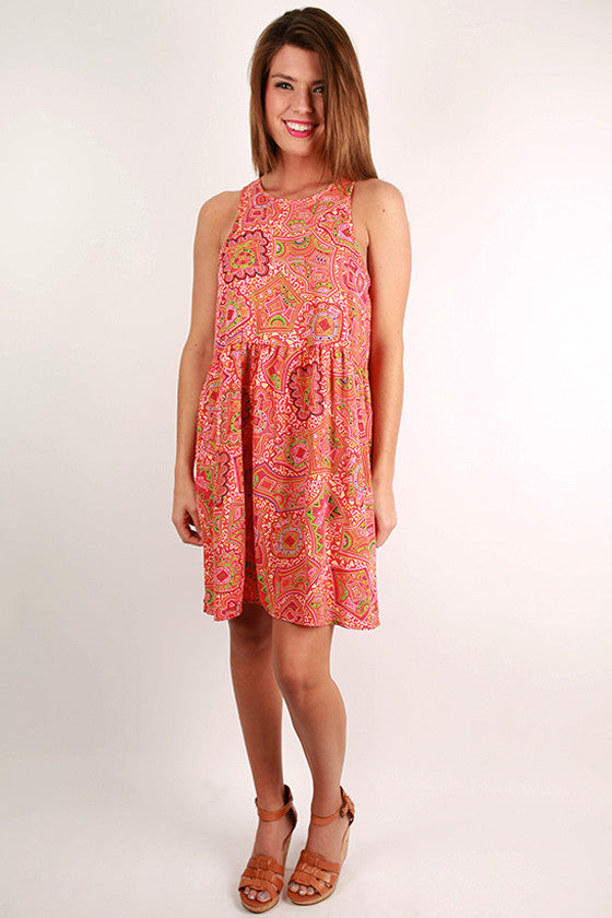 Patio Happy Hour Dress in Tangerine