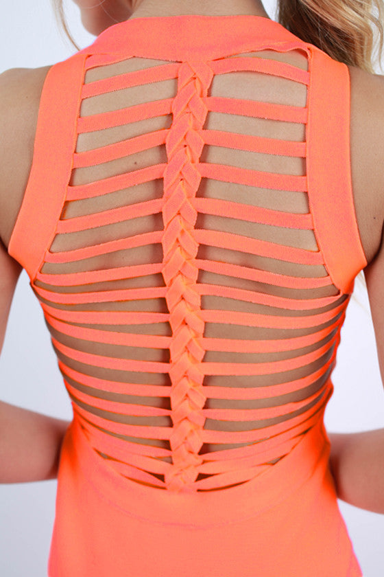 Kissed by the Sun Bodycon Dress in Neon Peach
