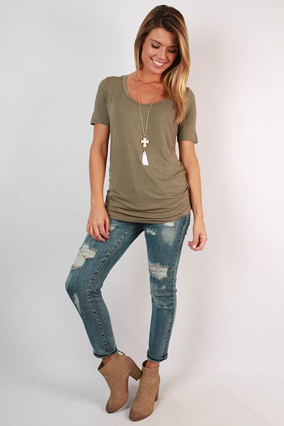 Fashionable & Fun Top in Olive