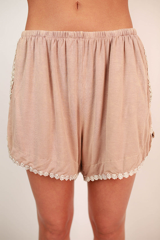 Vacay Dreaming Shorts in Beige