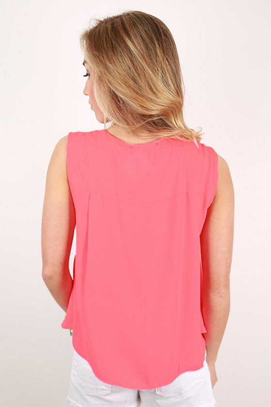 Trip to Cabo Tank Top in Neon Pink