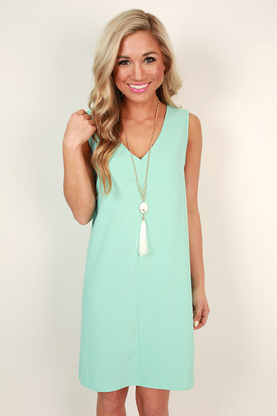 Forever Young Shift Dress in Aqua