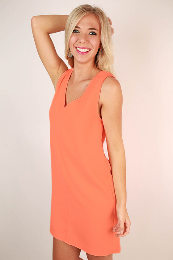 Forever Young Shift Dress in Neon Peach