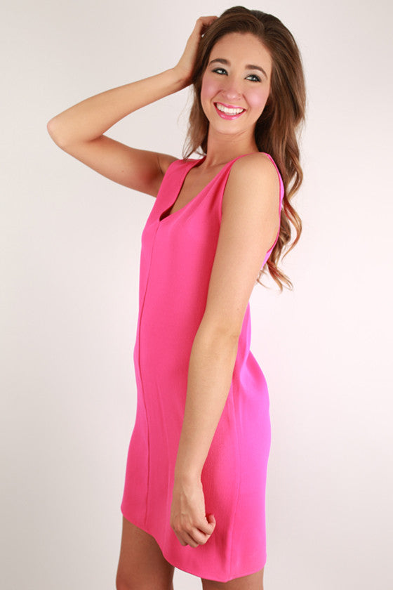 Forever Young Shift Dress in Hot Pink