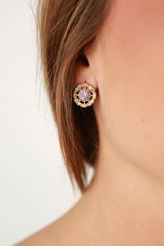 Sweetheart Earrings in Pink Opal