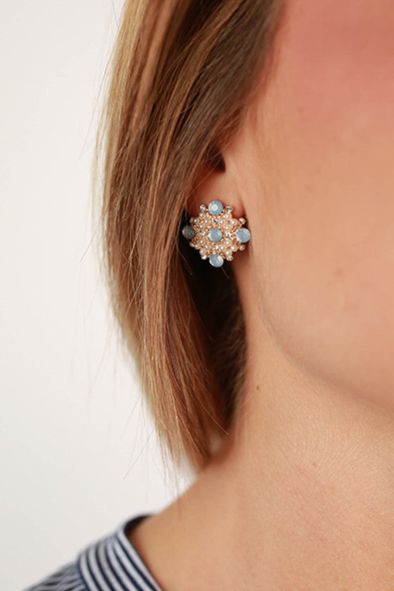 Always Classy Earrings in Blue