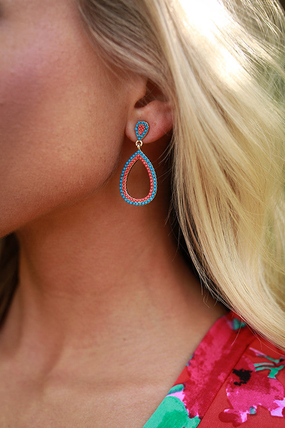 Tea With Royalty Earrings in Coral