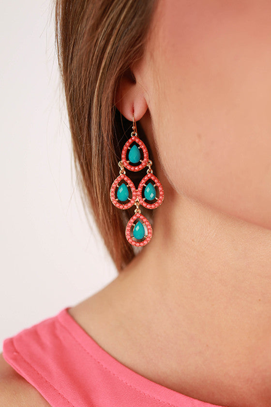 Breakfast at Tiffany's Earrings in Coral
