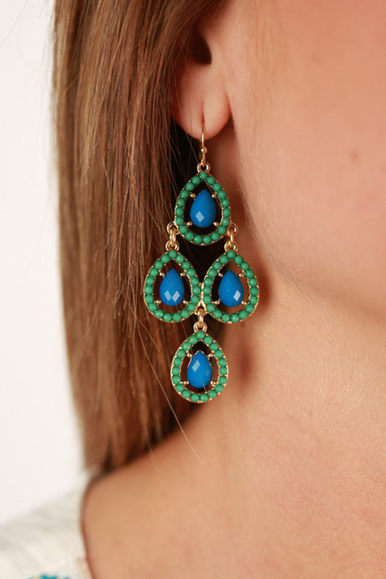 Breakfast at Tiffany's Earrings in Teal