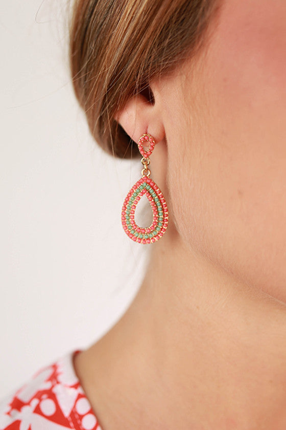 Modern Love Earrings in Coral