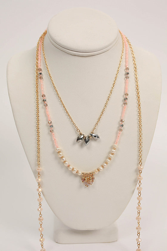 The Goldie Necklace in Peach