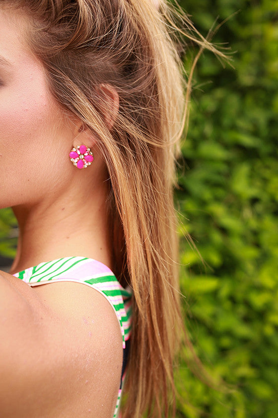Flowers Everyday Earrings in Magenta