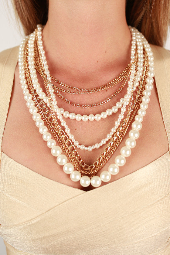 Strands of Glam Necklace in Ivory