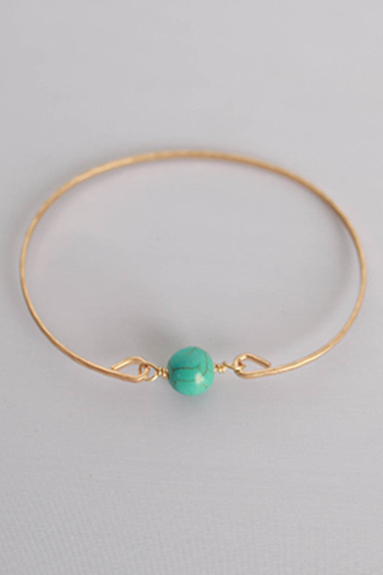 Works Like a Charm Bracelet in Gold/Turquoise