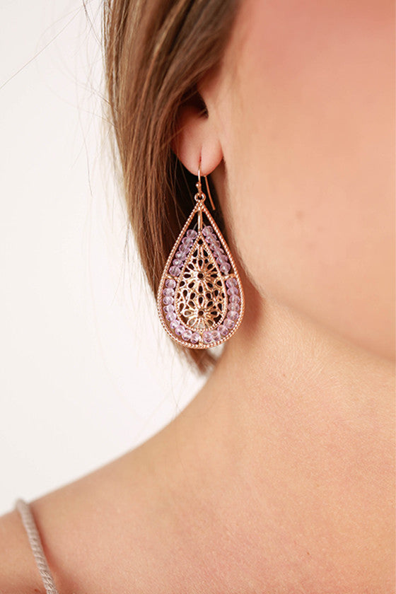 Floral Art Earrings in Lavender