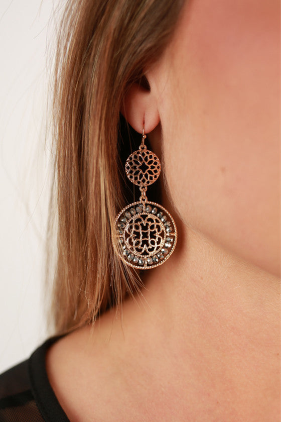 Glitz & Gold Earrings in Charcoal