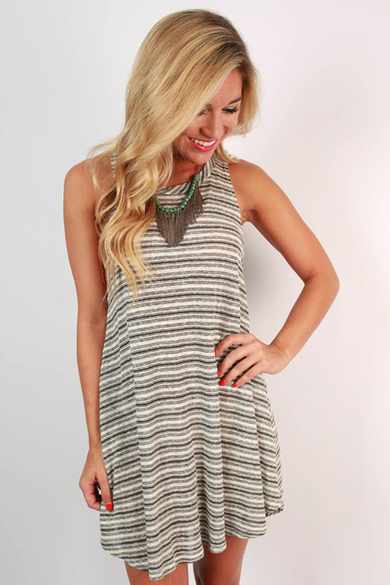 Stripes Adore Me Tunic Dress in Ivory