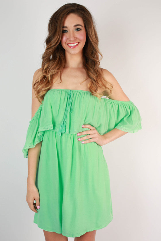 Feeling Legendary Off Shoulder Dress in Mint