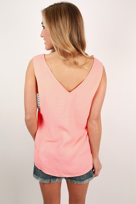 My Cup of Tea Linen Bandeau Top in Peach