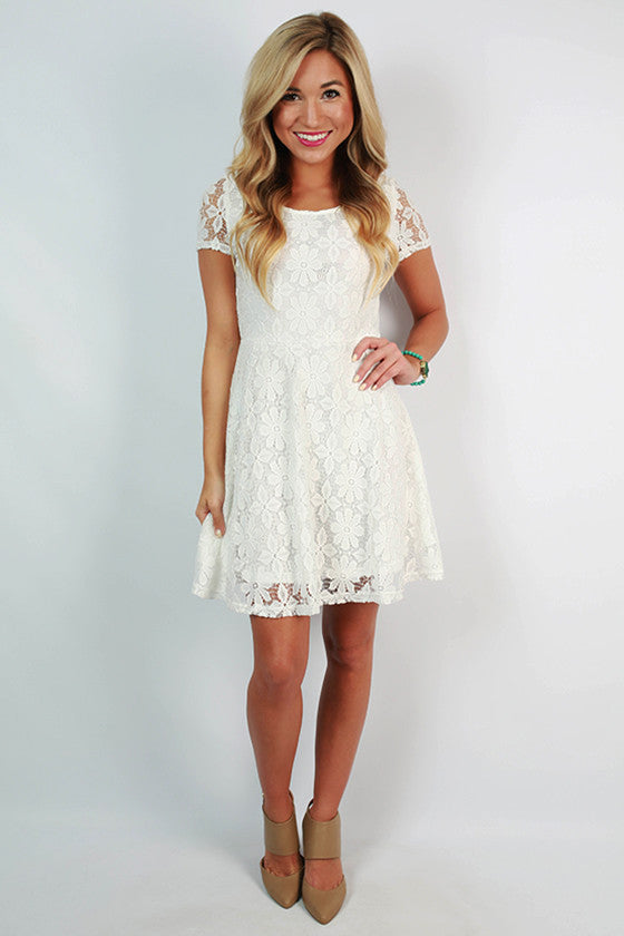 Sunday Charm Lace Dress in White