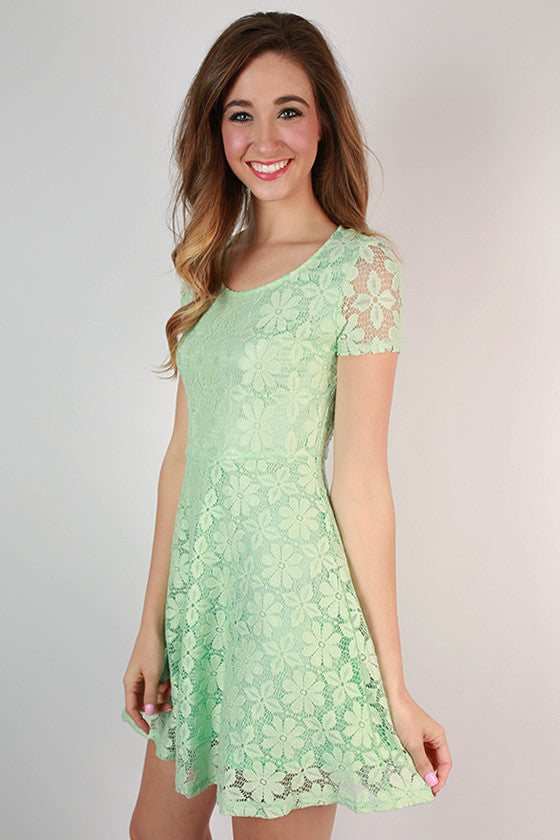 Sunday Charm Lace Dress in Mint