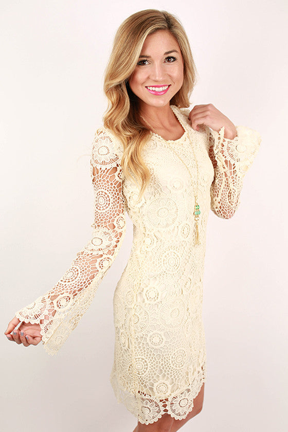 Sunsets At Sea Crochet Dress in Cream