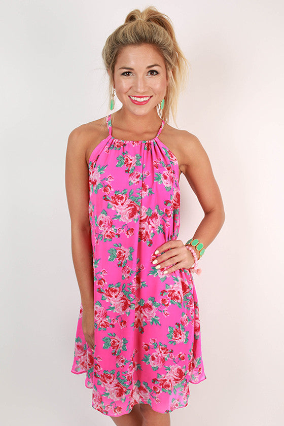 Chiffon & Champagne Rose Dress in Hot Pink