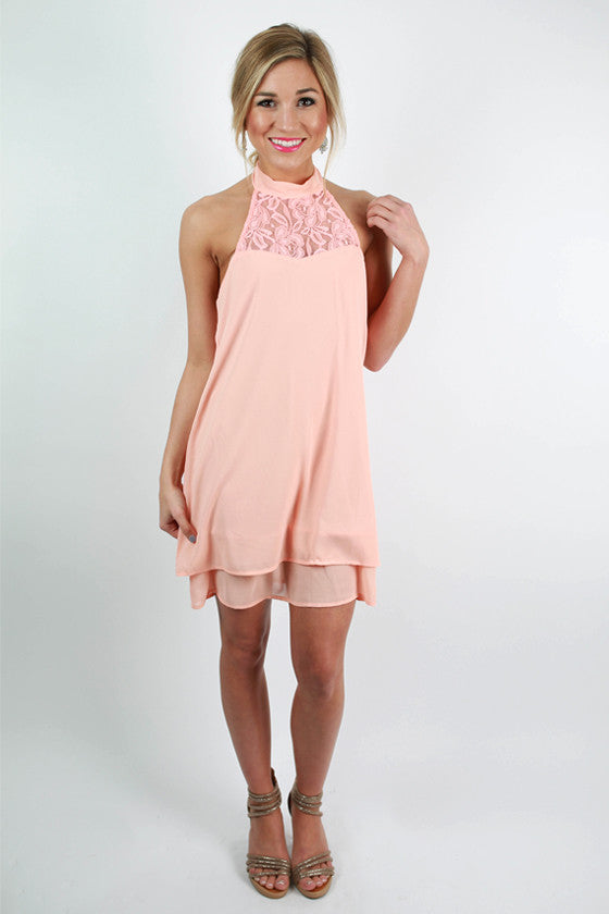 Courting in Crochet Dress in Peach