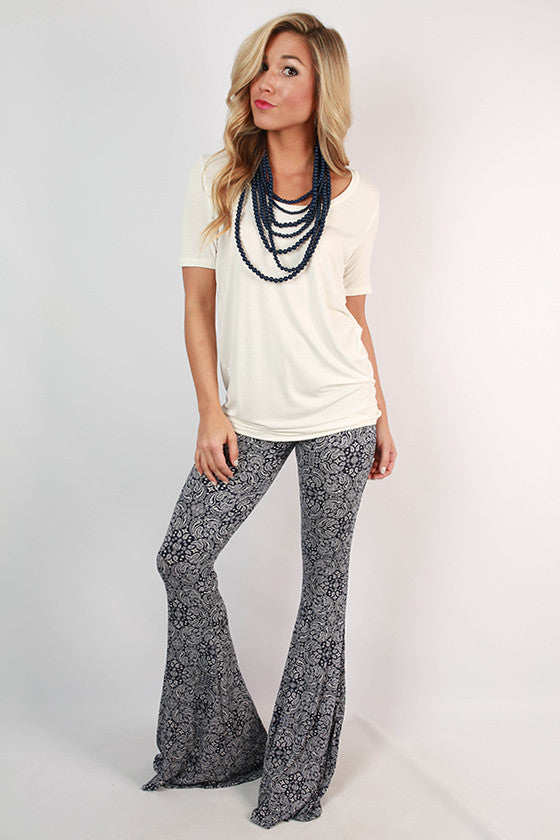 Boho Beauty Paisley Pants in Navy