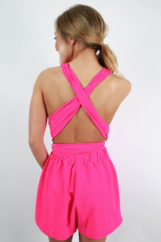 The Girl To Be Romper in Hot Pink