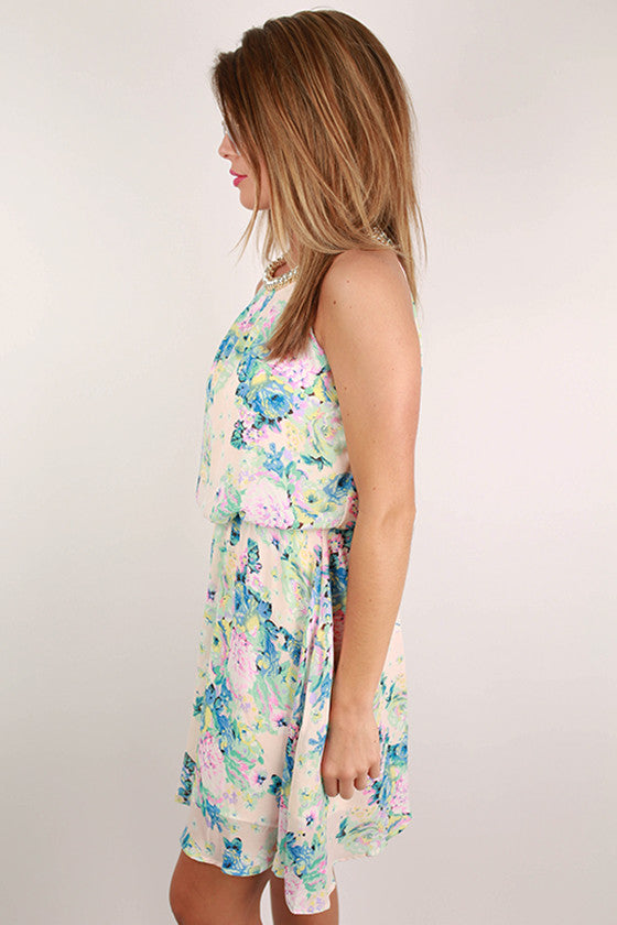 Unlimited Details Floral Dress in Cream