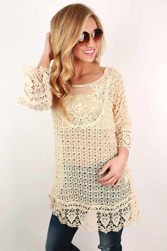 Call Ya, Maybe Tunic in Beige