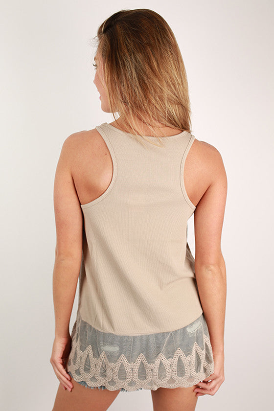 Tan in Tahiti Tank in Taupe