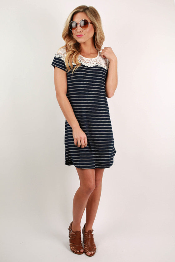 Off To The Vineyard Tunic Dress in Navy