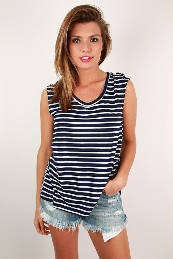 Keep it Breezy Back Slit Top in Navy