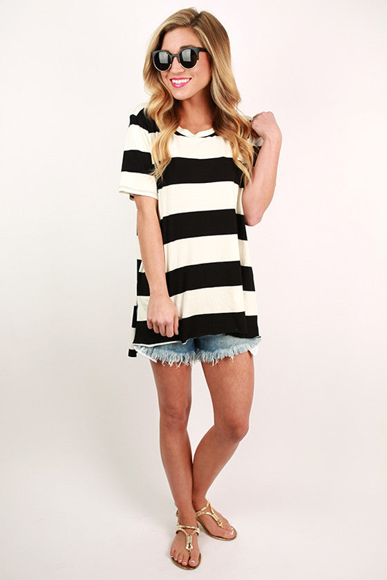 Stripe & Chic Tee in Black