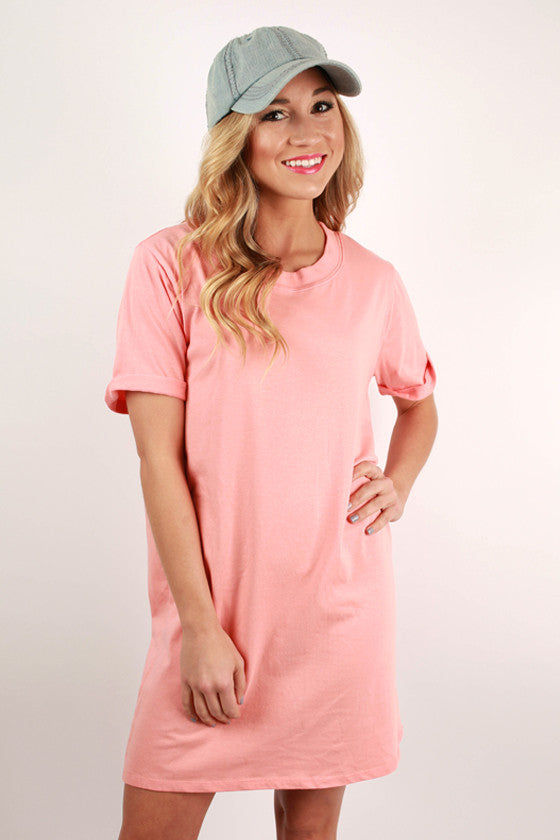 Study With Me T-Shirt Dress in Peach • Impressions Online Boutique