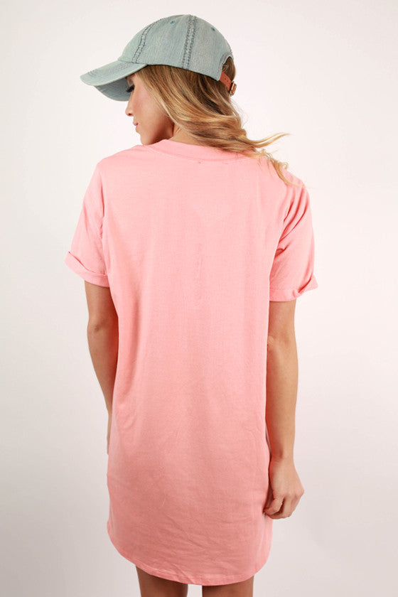 Study With Me T-Shirt Dress in Peach